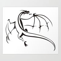 a simple flying dragon prints