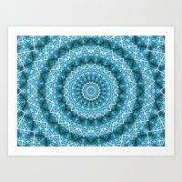 light blue kaleidoscope mandala prints
