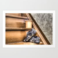 old childrens shoes on a stairway