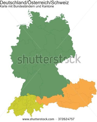 Map of Germany / Switzerland / Austria with provinces or cantons gefunden auf Shutterstock